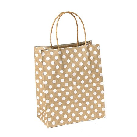 6CT Polka dots Kraft bag with sturdy handle - Medium, Brown - Brown Paper Bags With Handles