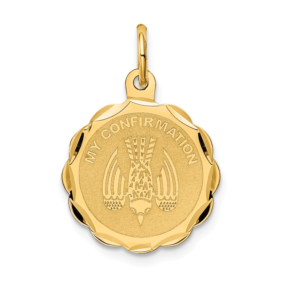 14k Yellow Gold Engravable My Confirmation Charm (0.9in long x 0.6in wide)
