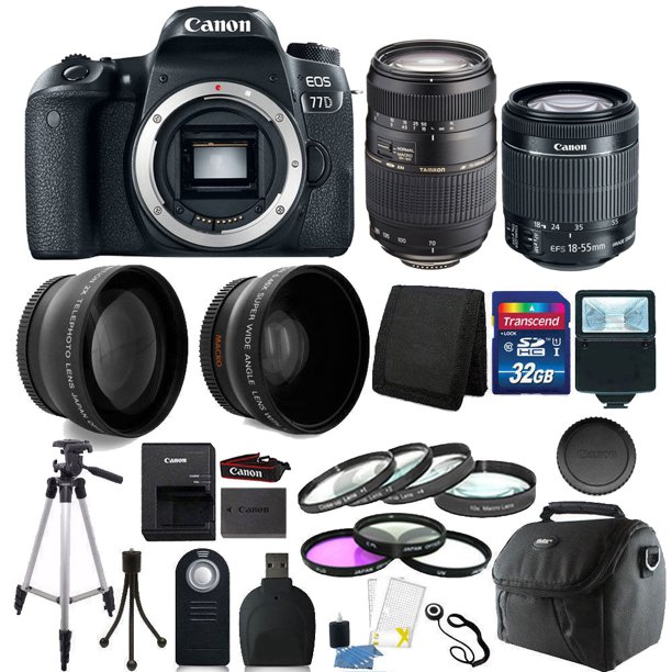 Canon EOS Rebel 77D 24.2MP DSLR Camera with 18-55mm + 70-300mm + 32GB Accessory Kit