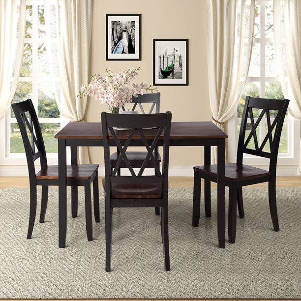 5-Piece/Set Dining Table Home Kitchen Table and 4 Chairs Wood Seat Black