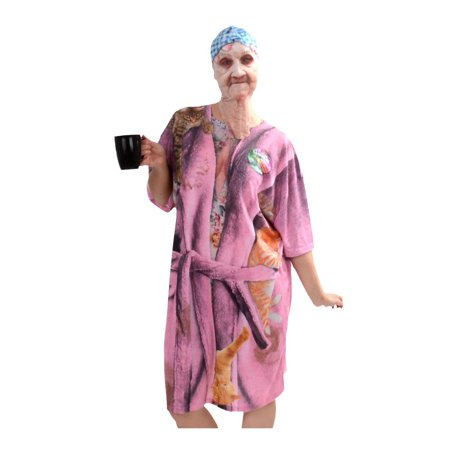 Happy Halloween Old Lady (Halloween Old Lady Mask and Nightshirt Adult)