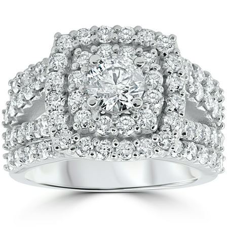 - Pompeii3 3 ct Diamond Engagement Wedding Cushion Halo Trio Wedding Ring Set White Gold