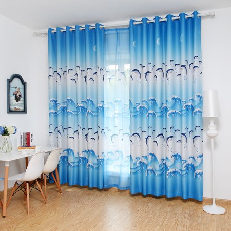 Joyfeel Clearance Window Curtains Cute Dolphin Blackout Curtain Panel for Bedroom Living Room ()