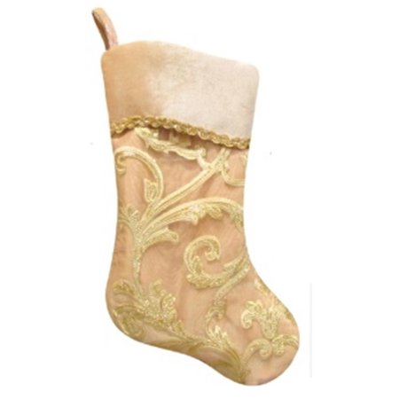 205 gold glittered leaf flourish organza christmas stocking with shadow velveteen cuff - Gold Christmas Stocking