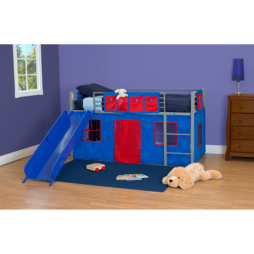 boys twin loft bed with slide grey and blue image 2 of 3
