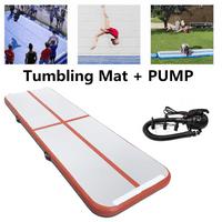 "118"" x 39"" x 4"" Inflatable Gymnastics Mat Pad Folding Gym Exercise Aerobics Air Track Floor Tumbling Mats, with Electric Pump for Taekwondo Stretching Yoga Cheerleading Home"