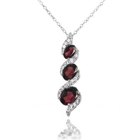 Garnet and White Topaz Sterling Silver Oval S Design Three-Stone Journey Necklace Design Sterling Silver Necklace