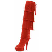 The Highest Heel 410993 6 in. Womens Micro Suede Open Thigh High Fringe Boot, Orange - Size F11