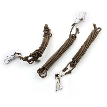 Unique BargainsNylon Contractility Rope Lanyard Line Cable Dark Khaki 1.9 Meters Length 3pcs