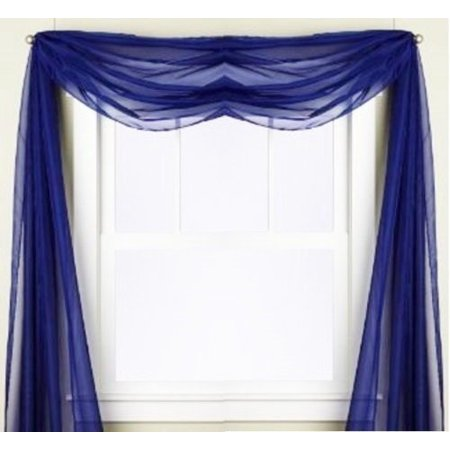 1 PC SOLID ROYAL BLUE  Hotel High Quality Elegant Window-Sheer Scarf Valance swag topper (37