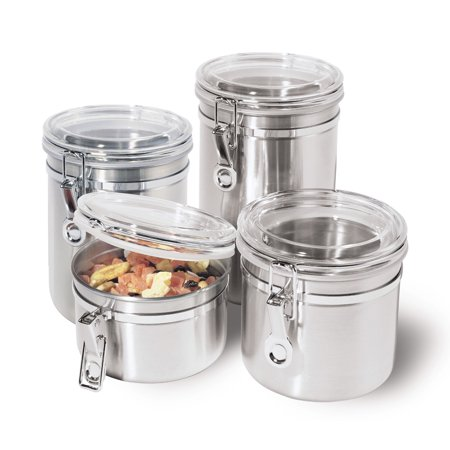 Oggi Stainless Steel Canister Set with Clear Lid (4 Pieces)