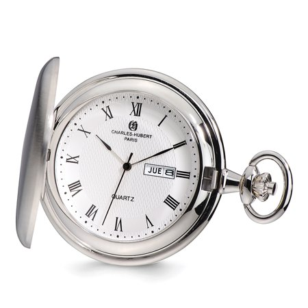 Lex & Lu Charles Hubert Satin Finish White Dial Day/Date Pocket Watch XWA4914 (Pocket Watch With Date And Day)