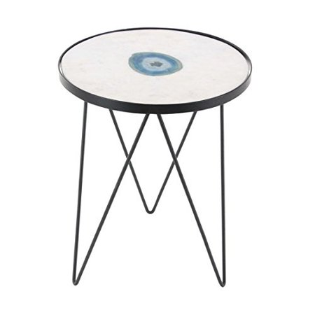 Studio 350 Metal Marble Agate Accent Table 17 inches wide, 22
