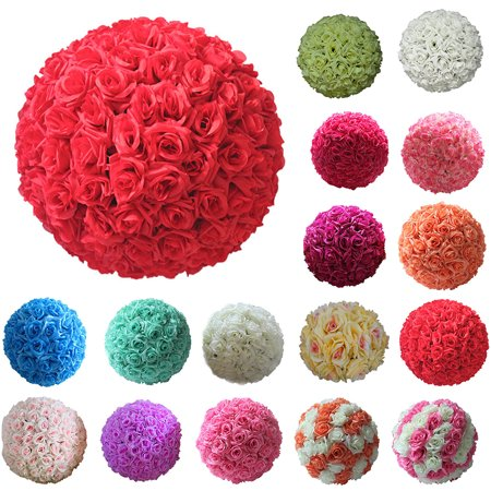 Girl12queen 8 Inch Wedding Artificial Rose Silk Flower Ball Hanging