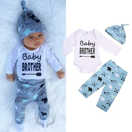 Newborn Baby Brother Boys Bears Romper Tops Long Pants Leggings Outfits