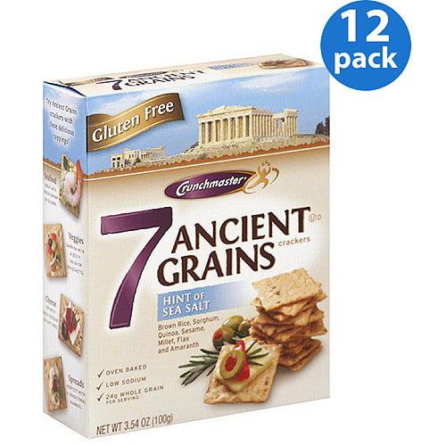 Crunchmaster 7 Ancient Grains Hint of Sea Salt Crackers, 3.54 oz, (Pack of 12)