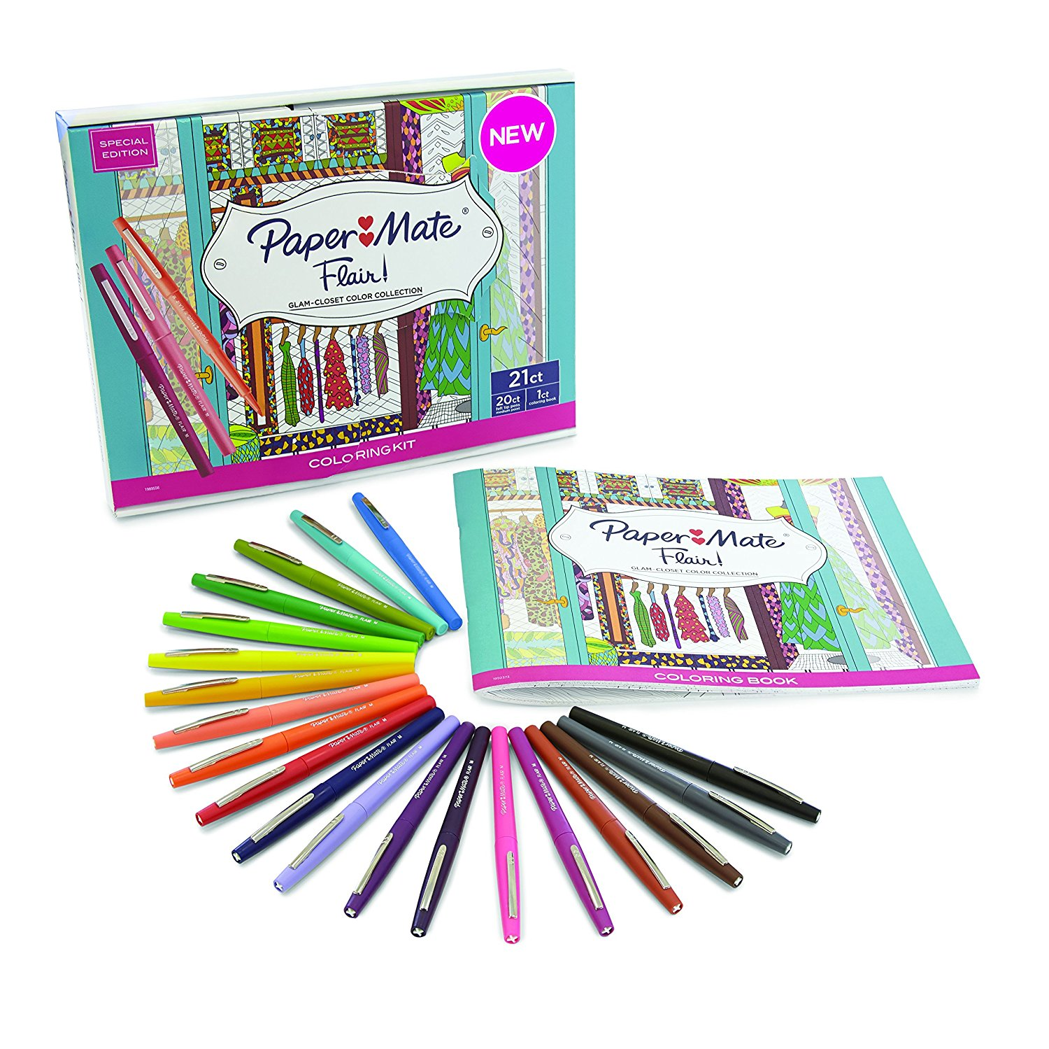 Flair Felt Tip Pens, Medium Point, Assorted Colors, 20 Count with Women's Closet Adult Coloring Book 20-Pack Coloring Kit Medium Tip