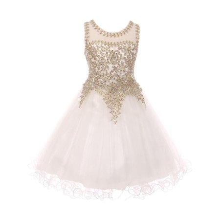 Girls White Gold Coiled Lace Studded Illusion Junior Bridesmaid (White Gold Girl)