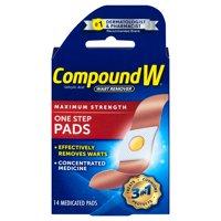 Compound W One Step Pads Salicylic Acid Wart Remover, 14 Pads