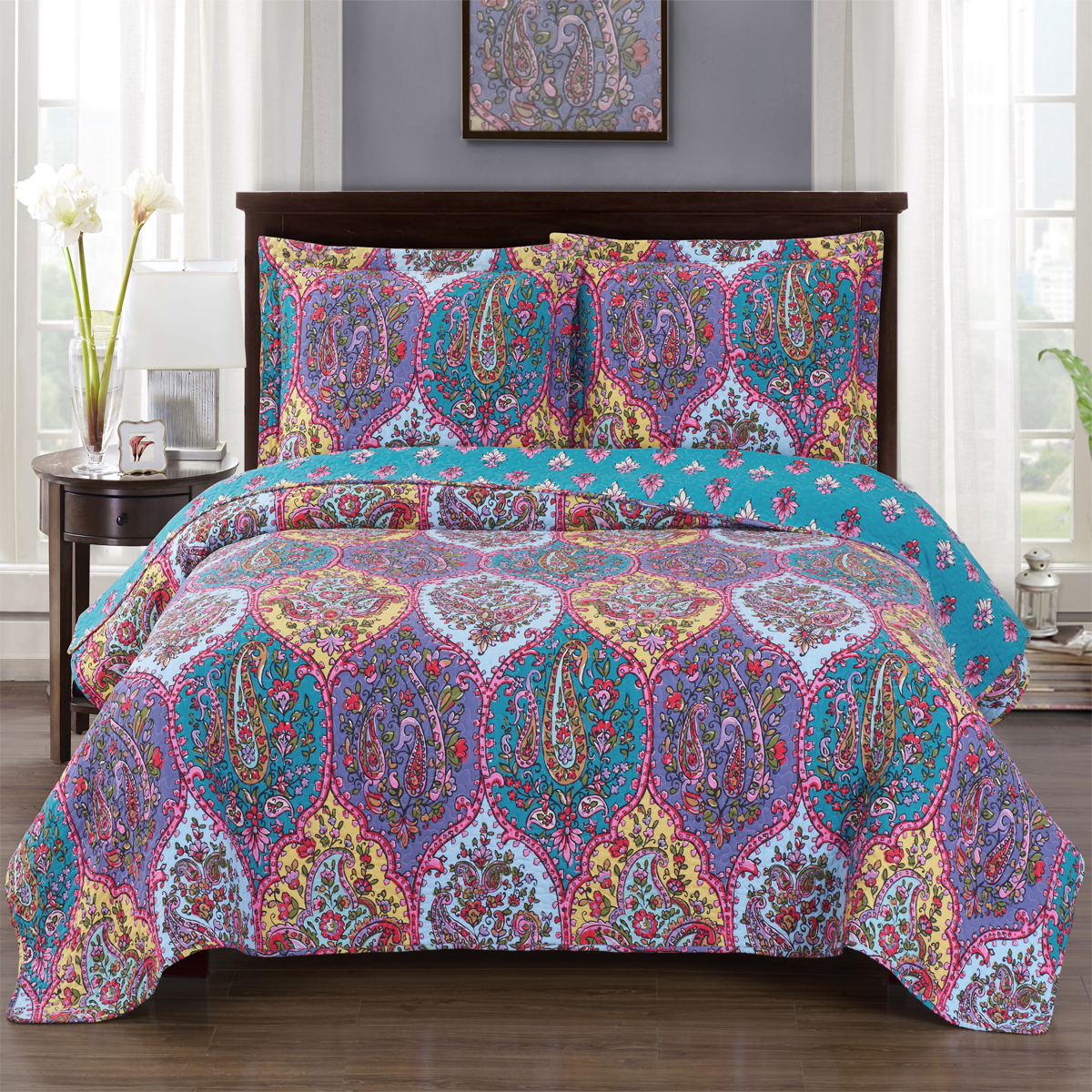 Viola Floral Oversize Coverlet Wrinkle-Free & Easy Care Reversible Quilt Set by Royal Plaza Textiles, Inc.