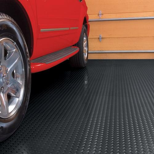 G-Floor Garage Floor Cover/Protector, 10' x 24', Diamond Tread, Midnight Black