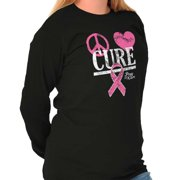 Brisco Brands Peace Love Cure Breast Cancer Ladies Long Sleeve T-Shirt