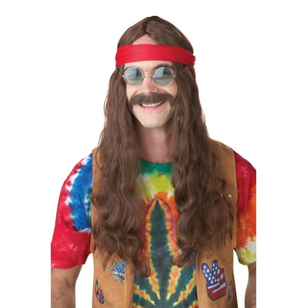 Adult Hippie Man Brown Wig and Moustache California Costumes 70666 - Hippie Man