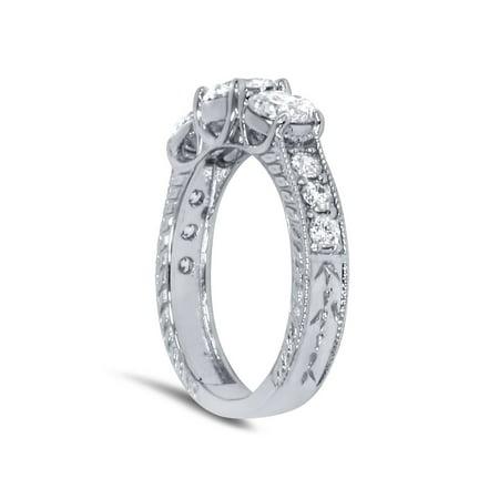 1 1/2ct Vintage Three Stone Round Diamond Engagement Ring 14K White Gold - image 1 de 3