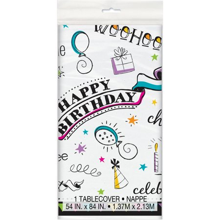 Plastic Doodle Happy Birthday Table Cover, 84