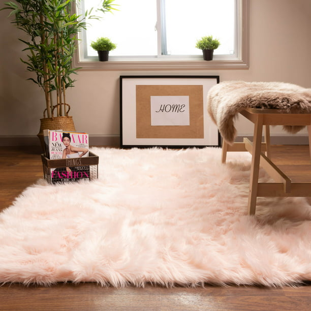 Ultra Soft Faux Sheepskin Fur Shag Rug Light Pink 3 X 5 Walmart Com Walmart Com