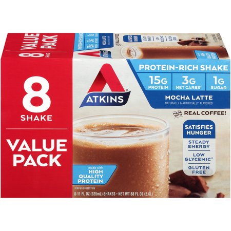 Atkins Mocha Latte, 11Fl oz, 8-pack (Ready to Drink)