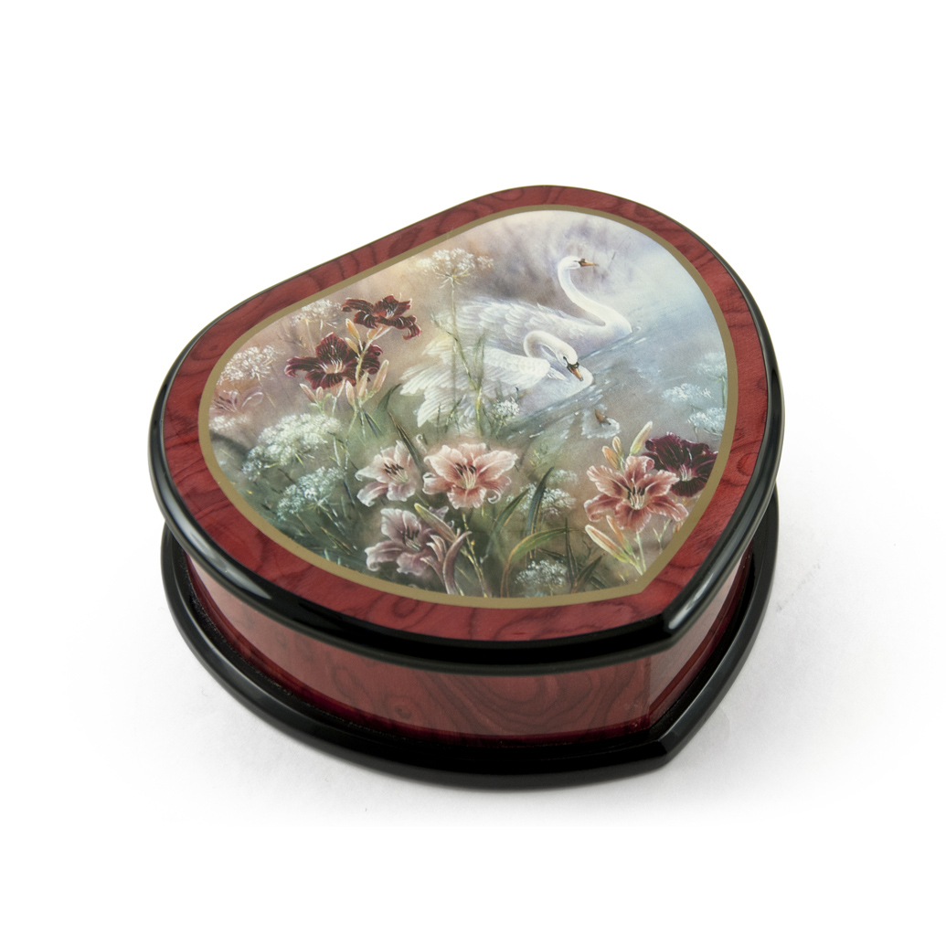 Elegant Heart Shape Painted Ercolano Music Jewelry Box Titled - Swan and Daylilies by Lena Liu - Entertainer, The