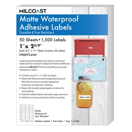 Foil Sheeted Address Labels - Milcoast Matte Waterproof Tear Resistant Address Labels 1