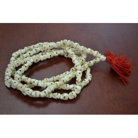 108 Drilled Carved Skull Bone Mala Prayer Beads Necklace 40
