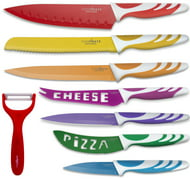 Chopmate Colored Stainless Steel Anti-Bacterial Non-Stick Coated 8 Piece Kitchen Knife Set
