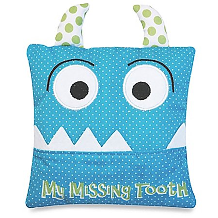 Image of Alma's Designs Tooth Fairy Pillow - Cute Blue Monster Face - 5 by 5 Inches