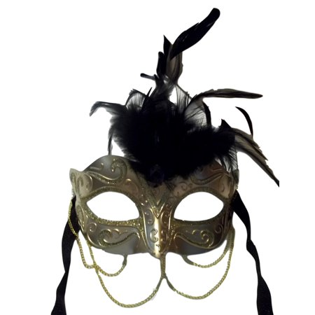 Gold Metallic with Chains Venetian Masquerade Mask Black Feathers Small (Masquerade Masks With Feathers)