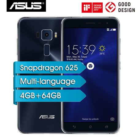ASUS ZenFone 3 Mobile Phone 4GB RAM 64GB ROM 5.5inch Snapdragon 625 Octa Core Android 7.0 8MP 16MP Dual Cameras Fingerprint Unlocked 4G LTE Smartphone