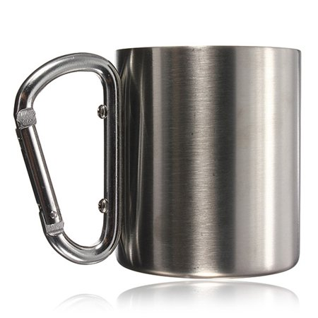 220ml Portable Cup Stainless Steel Travel Coffee Mug Camping Cup with Carabiner Hook Handle Double (Alexandria Double Handle)
