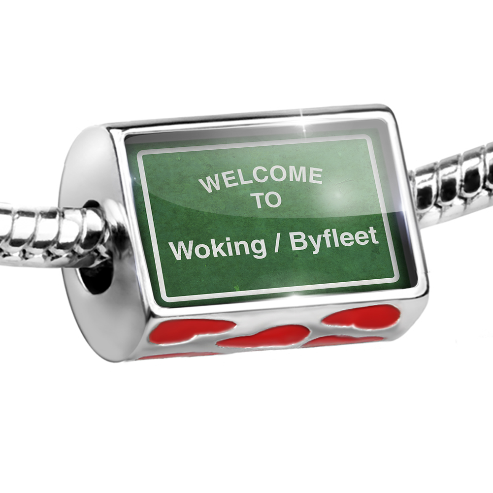 Bead Green Road Sign Welcome To Woking / Byfleet Charm Fits All European Bracelets
