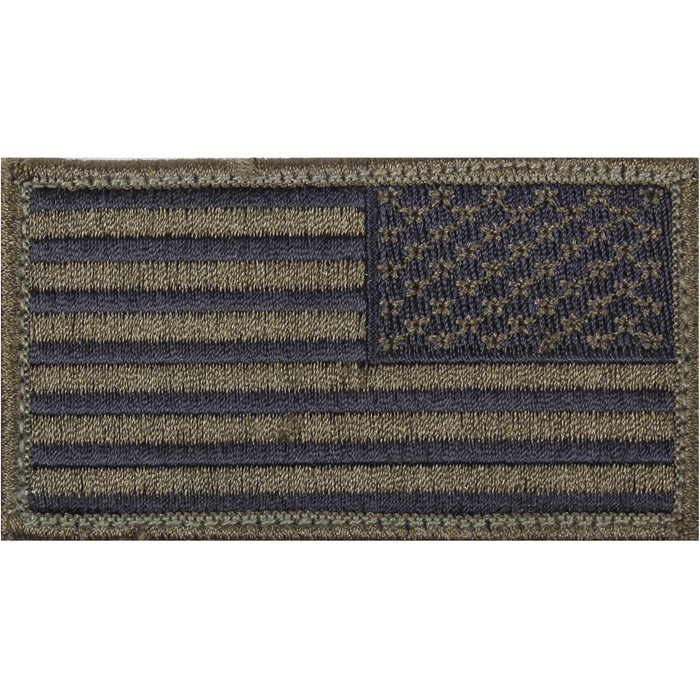 Olive Drab Black - Reversed US Flag Patch with Hook and Loop Closure
