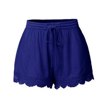 Womens Casual Elastic Waist Drawstring Lace Hem Beach Shorts Hot Solid -