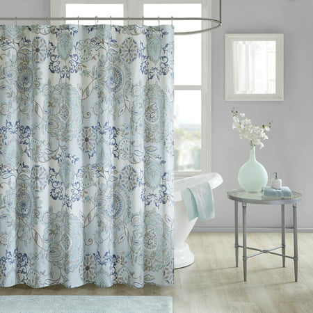 Home Essence Lian Cotton Percale Printed Shower Curtain