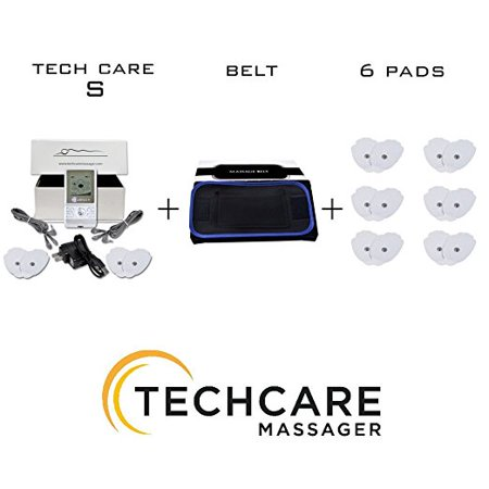 Lower Burner - TechCare S Tens Massager FDA Cleared 510K Unit Electric Massager Set With 6 Extra Pads + Fat Burner Belt tens unit for Knee Pain Lower Back Lumbar pain, Arthritis, Bursitis, Tendonitis Sciatica