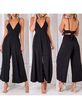 Fashion Womens Sleeveless V-neck Clubwear Playsuit Strappy Party Jumpsuit Romper Chiffon Long Trousers