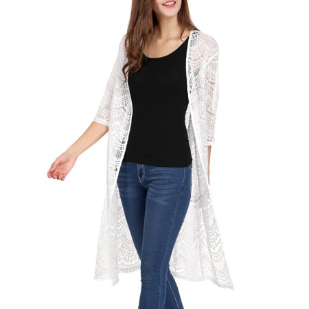 Women 3/4 Sleeves See Through Open Front Lace Cardigan White S - image 4 of 7