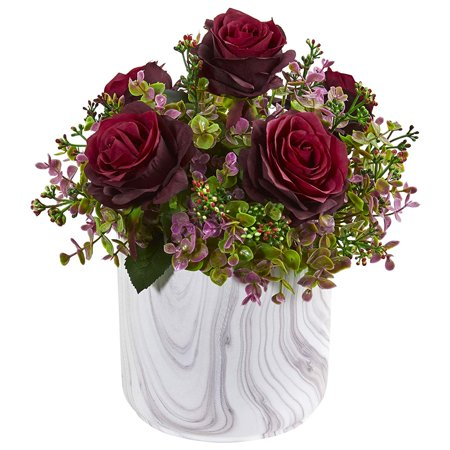 Nearly Natural 1756-BG 13-in. Roses & Eucalyptus Artificial Marble Finished Vase Silk Arrangements, Burgundy - image 1 de 1