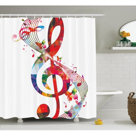Music Decor Shower Curtain Set Artwork With Notes Rhythm Song Ornamental Vibrant Colors Fantasy