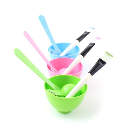 4 in 1 Beauty Homemade DIY Facial Mask Tool Mixing Bowl Brush Stick Spoon Set, Random Color
