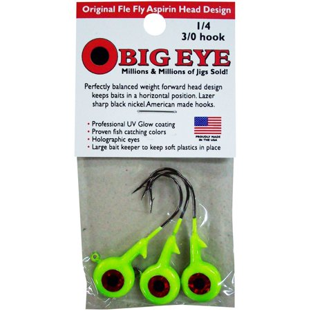 - Fle-Fly Big Eye Jig Head, 1/4 oz, Chartreuse